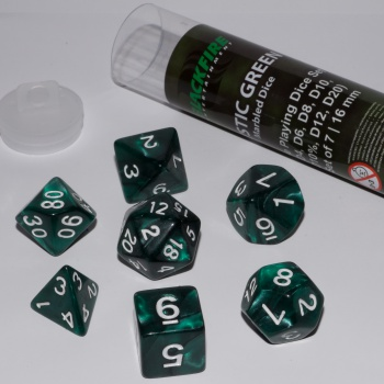 BF DICE - 16MM ROLE PLAYING DICE SET - MYSTIC GREEN (7 DICE)