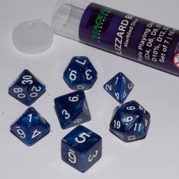 BF DICE - 16MM ROLE PLAYING DICE SET - BLIZZARD BLUE (7 DICE)