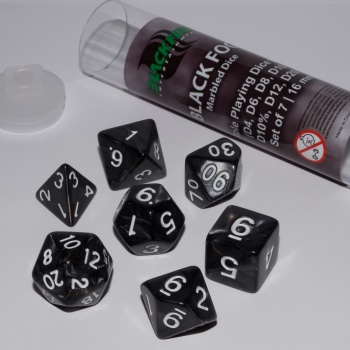 BF DICE - 16MM ROLE PLAYING DICE SET - BLACK FOG (7 DICE)