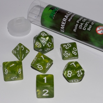 BF DICE - 16MM ROLE PLAYING DICE SET - EMERALD GREEN (7 DICE)