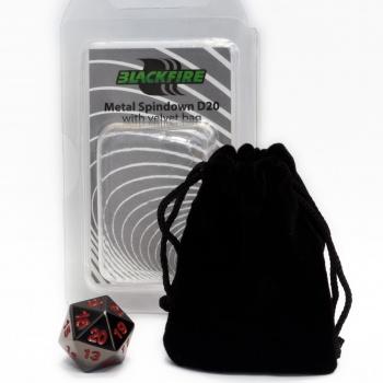 BF DICE - D20 METAL SPINDOWN WITH VELVET BAG - BLACK