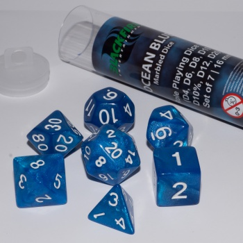 BF DICE - 16MM ROLE PLAYING DICE SET - OCEAN BLUE (7 DICE)