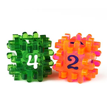 CONSTRUCTIBLE DICE - LIGHT RED & GREEN